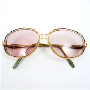 Vintage Sunglasses Pink Lenses Multicolor Frame